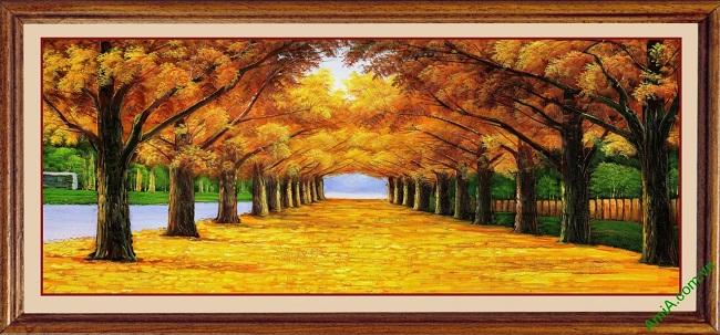 Hinh anh mau tranh noi that trang tri phong canh mùa thu la vàng
