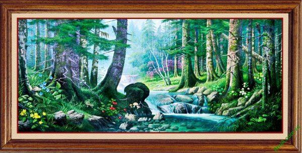 Tranh trang trí phong cảnh in giả sơn dầu Amia 430