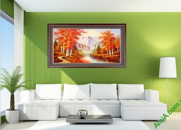 Tranh trang trí phong cảnh mùa Thu in giả sơn dầu Amia 431-01