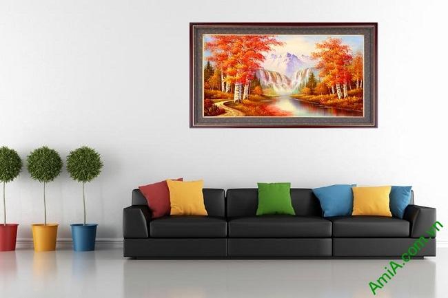 Tranh trang trí phong cảnh mùa Thu in giả sơn dầu Amia 431-02