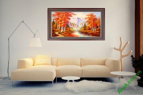 Tranh trang trí phong cảnh mùa Thu in giả sơn dầu Amia 431-03