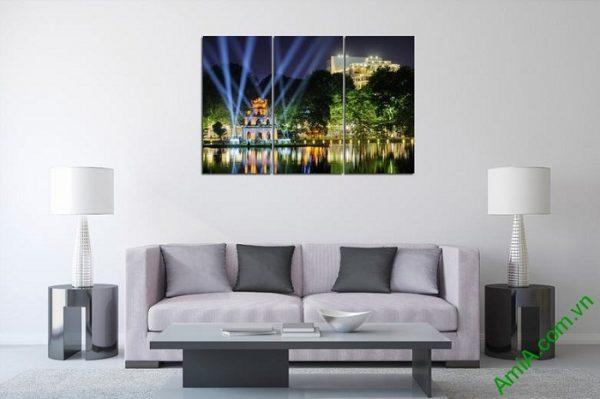 Tranh trang trí phong cảnh Tháp Rùa về đêm Amia 443-01
