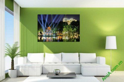 Tranh trang trí phong cảnh Tháp Rùa về đêm Amia 443-02