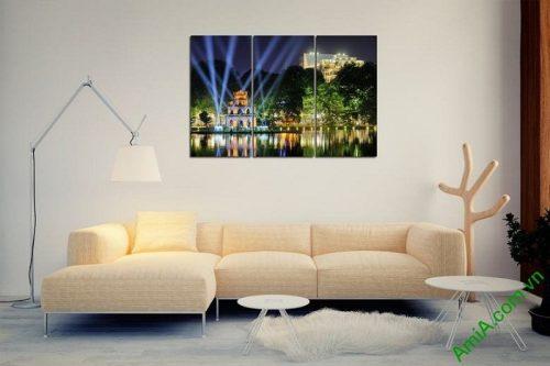 Tranh trang trí phong cảnh Tháp Rùa về đêm Amia 443-03