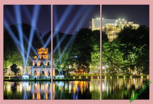 Tranh trang trí phong cảnh Tháp Rùa về đêm Amia 443