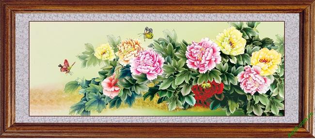Tranh trang trí phòng khách đẹp hoa Mẫu Đơn Amia 427 hợp người mệnh HỎA