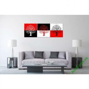 Tranh trang trí phòng khách hiện đại Cây đỏ đen Amia 453-00