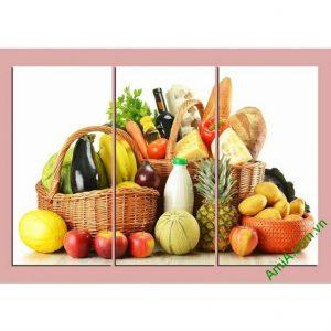 Tranh trang trí phòng khách, phòng ăn giỏ thực phẩm Amia 448-00