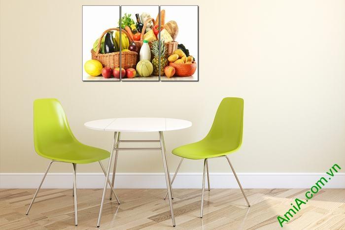 Tranh trang trí phòng khách, phòng ăn giỏ thực phẩm Amia 448-01