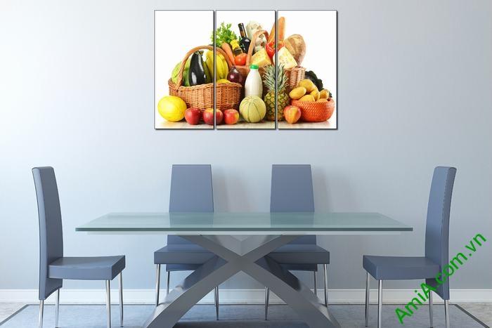 Tranh trang trí phòng khách, phòng ăn giỏ thực phẩm Amia 448-02