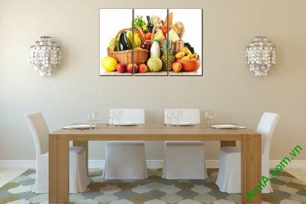 Tranh trang trí phòng khách, phòng ăn giỏ thực phẩm Amia 448-03