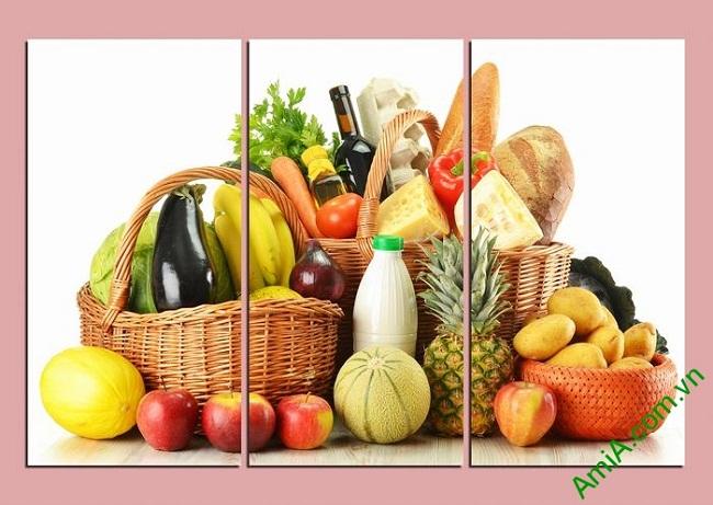 Tranh trang trí phòng khách, phòng ăn giỏ thực phẩm Amia 448