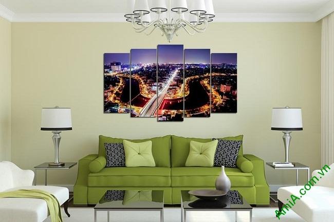 Hình ảnh tranh trang trí phong cảnh khổ lớn Đêm Sài Gòn làm đẹp phòng khách