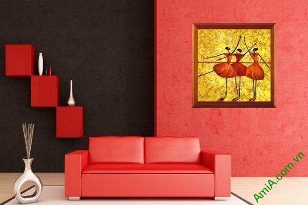 Tranh trang trí phòng khách trừu tượng Vũ Công Ba Lê Amia 447-01