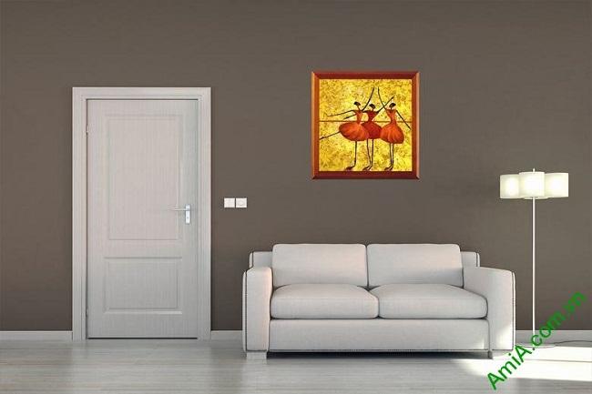 Tranh trang trí phòng khách trừu tượng Vũ Công Ba Lê Amia 447-02