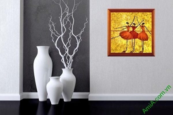 Tranh trang trí phòng khách trừu tượng Vũ Công Ba Lê Amia 447-03