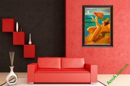 Tranh trang trí trừu tượng cô gái bên bờ biển Amia 445-02