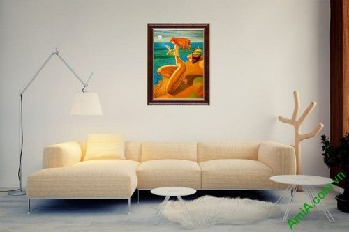 Tranh trang trí trừu tượng cô gái bên bờ biển Amia 445-03