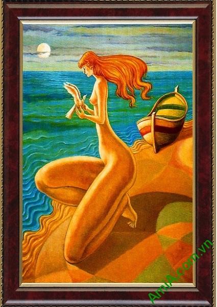Tranh trang trí trừu tượng cô gái bên bờ biển Amia 445