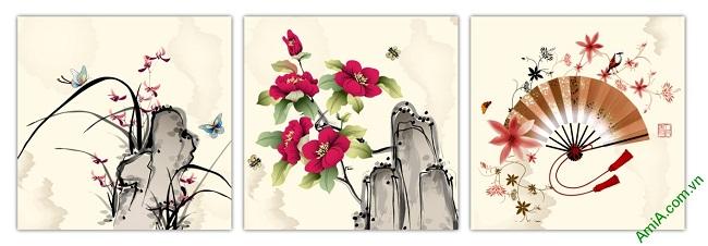 Tranh trang trí truyền thống ghép bộ nhiều tấm Amia 434