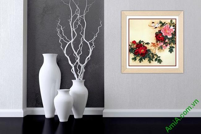 Tranh trang trí truyền thống hoa Mẫu Đơn Amia 436-01