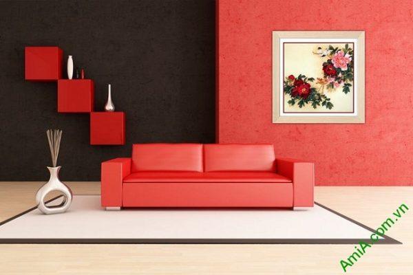 Tranh trang trí truyền thống hoa Mẫu Đơn Amia 436-03