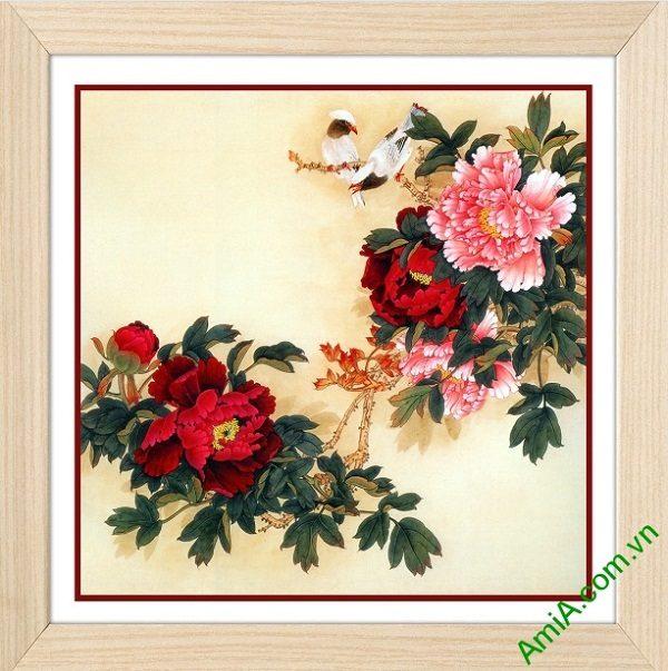 Tranh trang trí truyền thống hoa Mẫu Đơn Amia 436