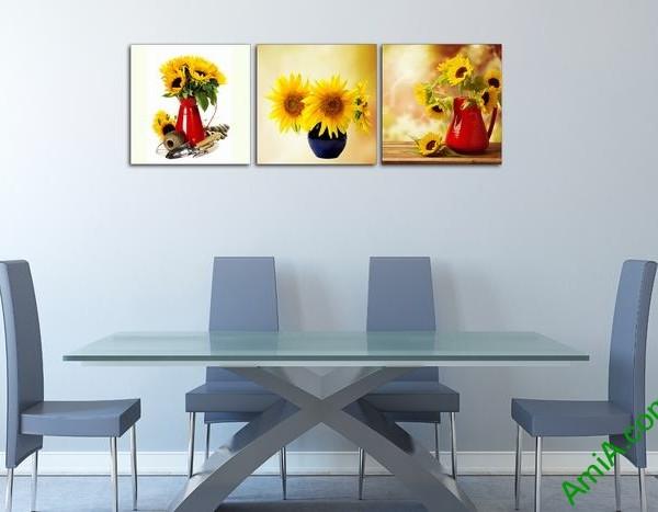Bộ 3 tấm tranh trang trí bình hoa hướng dương đẹp Amia 525-01