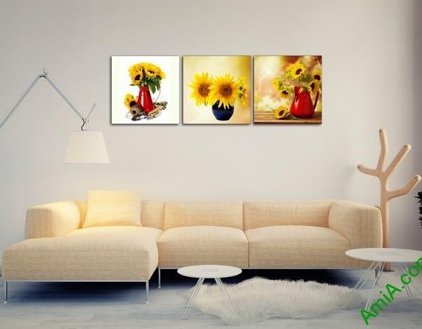 Bộ 3 tấm tranh trang trí bình hoa hướng dương đẹp Amia 525-02