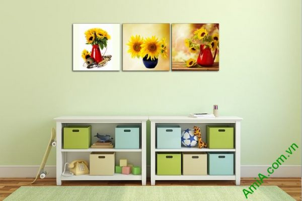 Bộ 3 tấm tranh trang trí bình hoa hướng dương đẹp Amia 525-03
