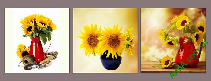 Bộ 3 tấm tranh trang trí bình hoa hướng dương đẹp Amia 525