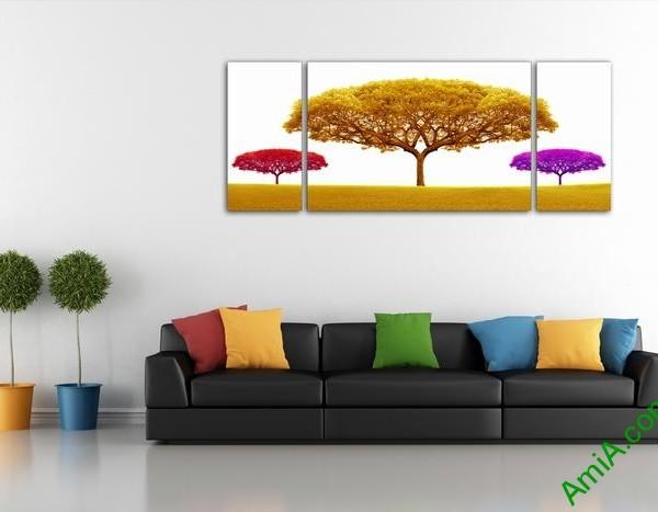 Bộ tranh trang trí phòng khách cây sắc màu 3 tấm Amia 503-01