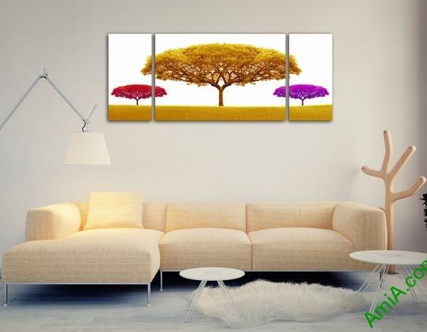 Bộ tranh trang trí phòng khách cây sắc màu 3 tấm Amia 503-02