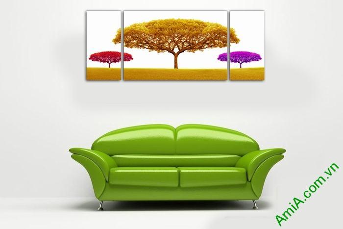 Bộ tranh trang trí phòng khách cây sắc màu 3 tấm Amia 503-03