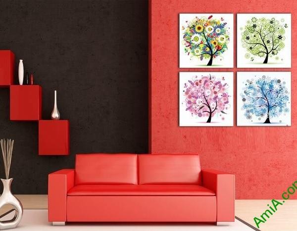 Bộ tranh trang trí phòng khách hiện đại cây ngũ sắc Amia 535-02