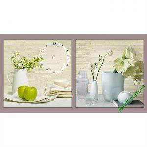 Đồng hồ tranh trang trí phòng khách bình hoa quả Amia 551-00