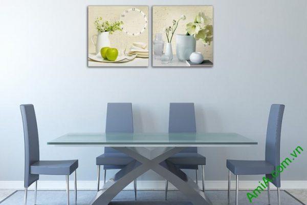 Đồng hồ tranh trang trí phòng khách bình hoa quả Amia 551-01