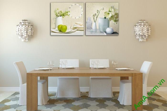 Đồng hồ tranh trang trí phòng khách bình hoa quả Amia 551-02