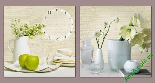 Đồng hồ tranh trang trí phòng khách bình hoa quả Amia 551