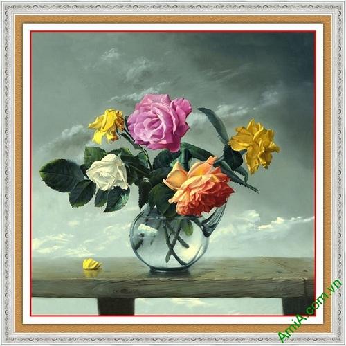 Tranh bình hoa hồng trang trí tĩnh vật nghệ thuật AmiA 591