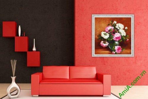 Tranh bình hoa mẫu đơn trang trí phòng khách sang trọng-02