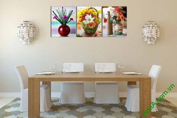 Tranh hoa lá trang trí phòng khách hiện đại AmiA 593-02