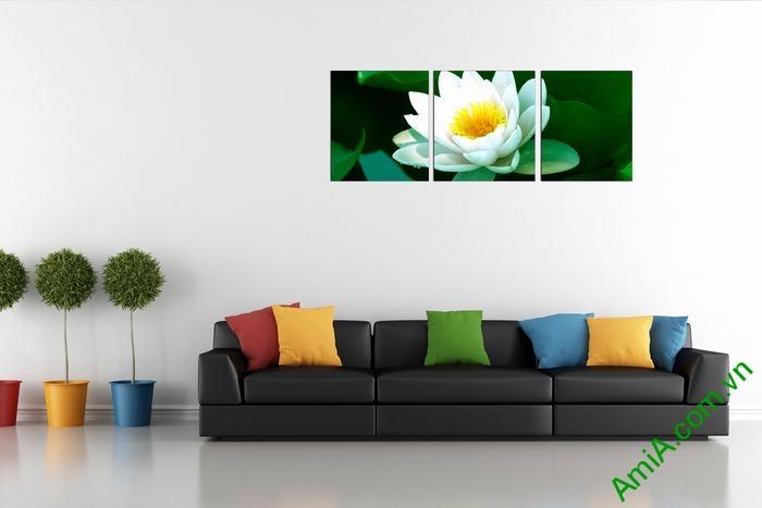 Tranh hoa Sen trắng trang trí phòng khách thư thái Amia 493-01