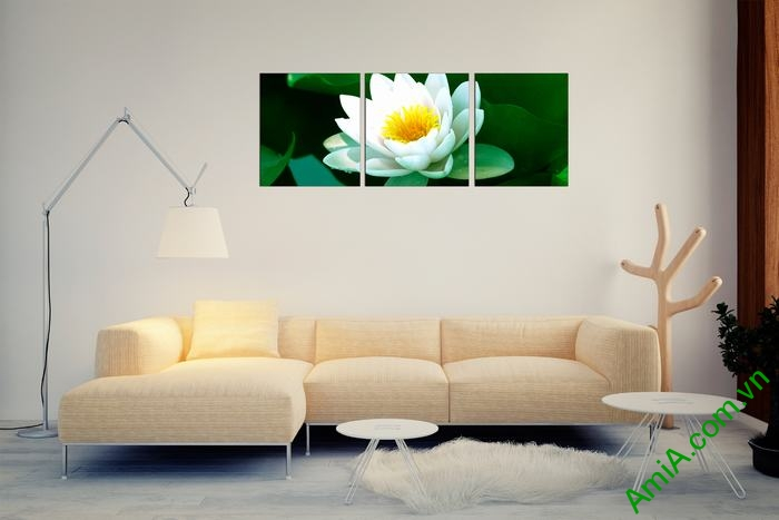 Tranh hoa Sen trắng trang trí phòng khách thư thái Amia 493-03