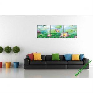 Tranh hoa Sen trang trí phòng khách nghệ thuật Amia 482-00