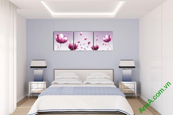Tranh hoa tím trang trí phòng khách, phòng ngủ Amia 540-02