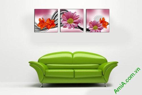 Tranh hoa trang trí nghệ thuật cách điệu Amia 515-01