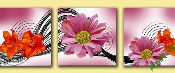 Tranh hoa trang trí nghệ thuật cách điệu Amia 515