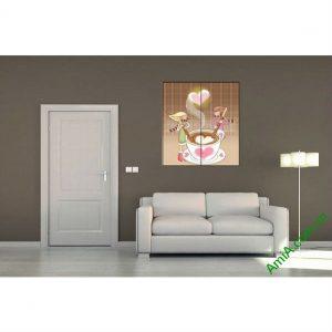 Tranh ly cafe tình yêu trang trí phòng khách hiện đại Amia 476-00