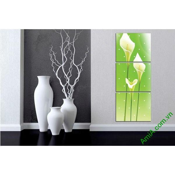 Tranh ốp tường trang trí phòng khách hoa Zum trắng Amia 518-00